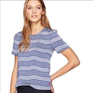 Dear Drew 34th Street Puff Sleeve Blue Stripe Top